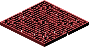 3D Maze Red Printable Puzzle